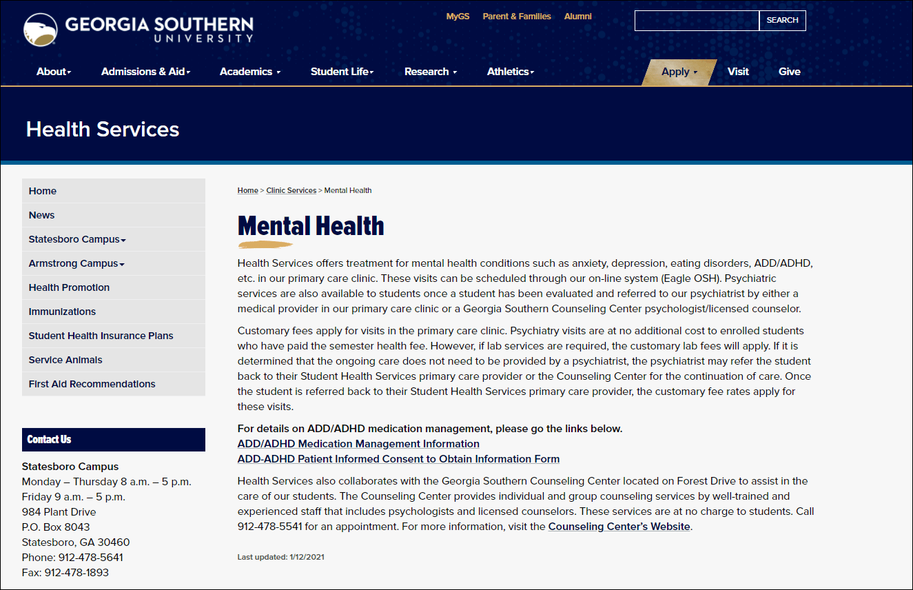 Mental health resources for colleges