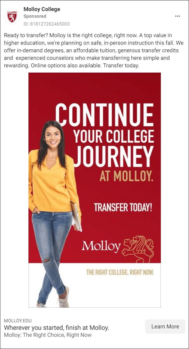 Molloy College Facebook Ad