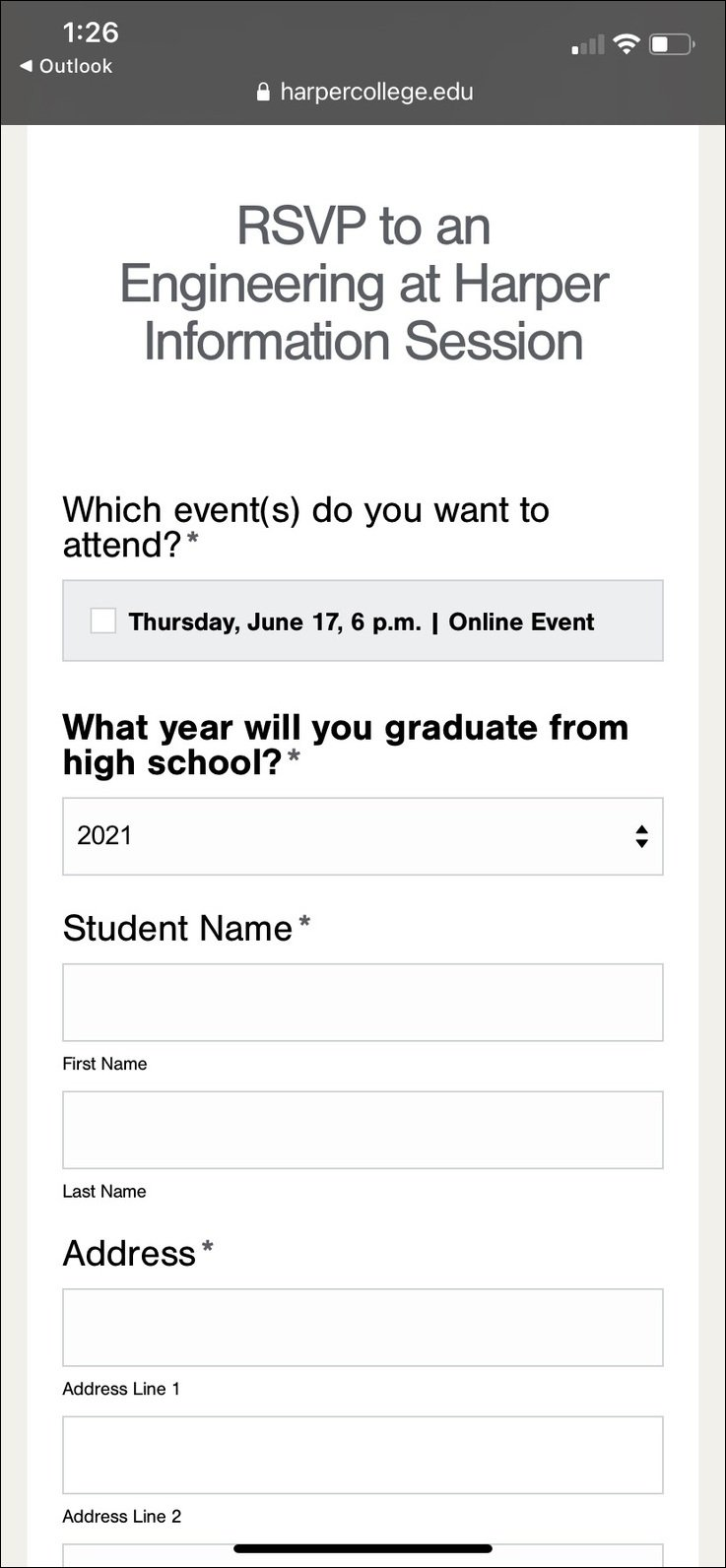 Harper College Facebook Landing Page