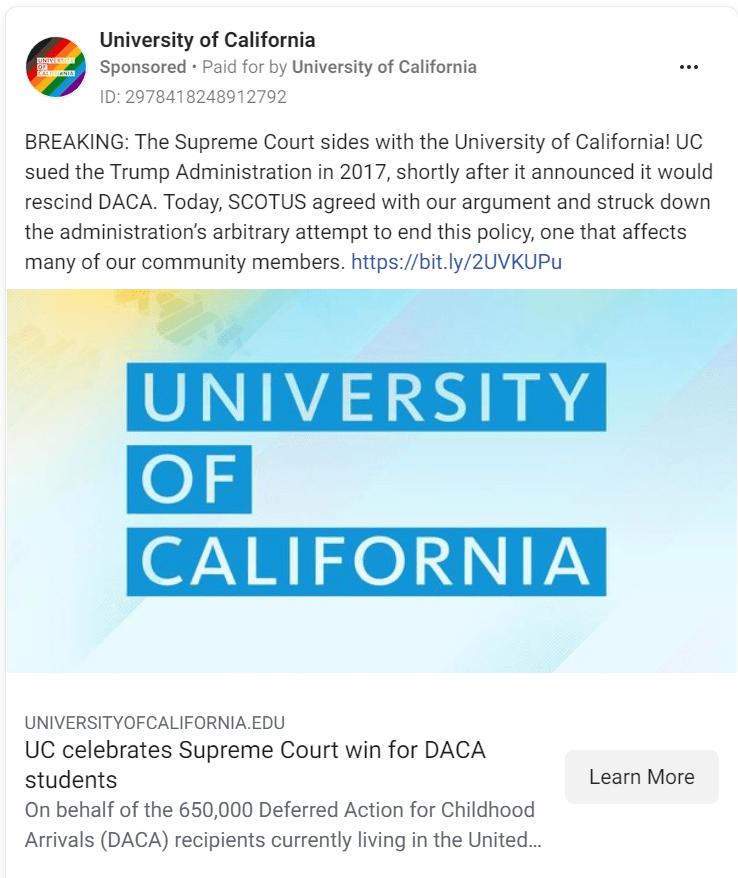 University of California Facebook Ad
