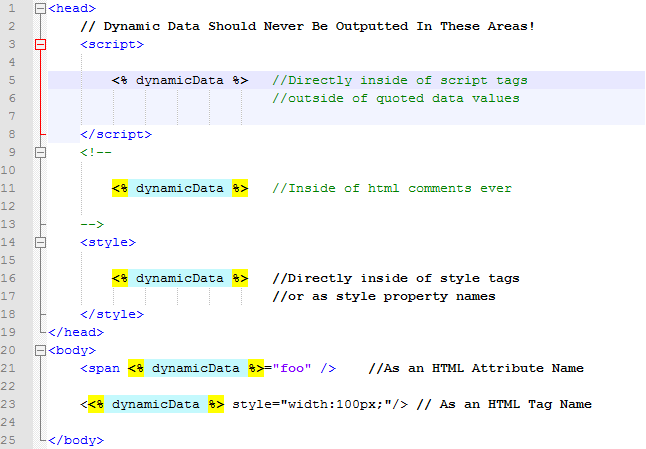 Areas that cannot be protected against Cross Site Scripting (XSS)