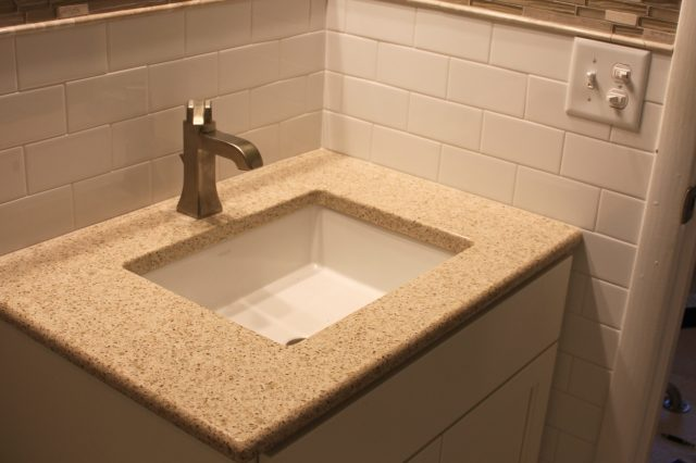 remodeled bathroom, square sink, ceramic tile, decos