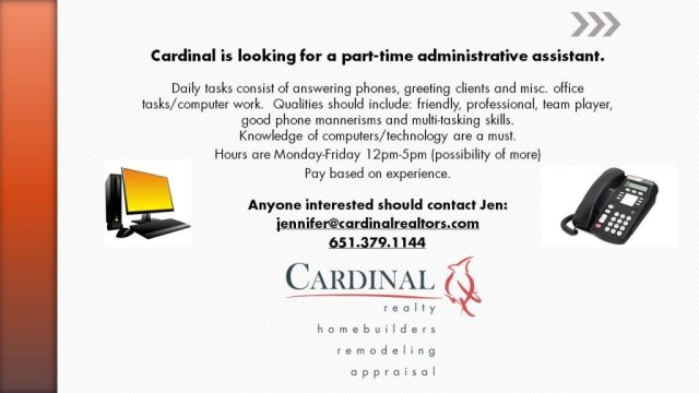 cardinal is looking for PT admin