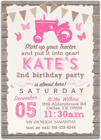 graceful tractor birthday party invitation for girl nv2012