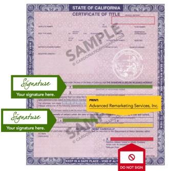 car donation title for California