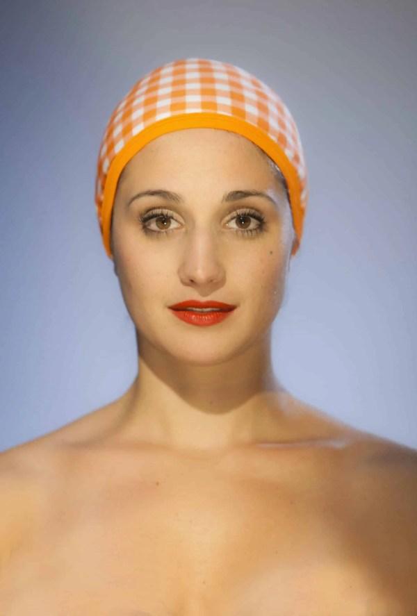 Bonnet de bain Vichy Orange CARDO Paris piscine maillot de bain déperlant joli élégant confortable français