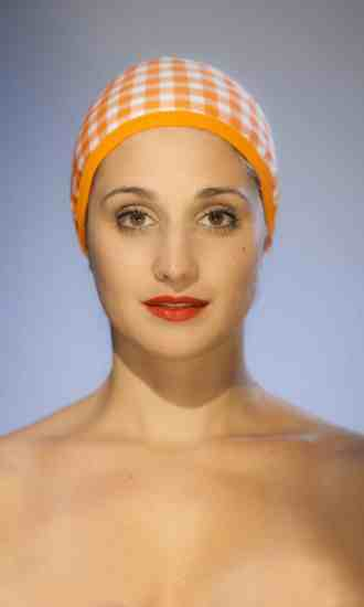 The Gingham orange Swimming cap CARDO Paris swimming pool beach water-repellent french pretty comfy elegant french