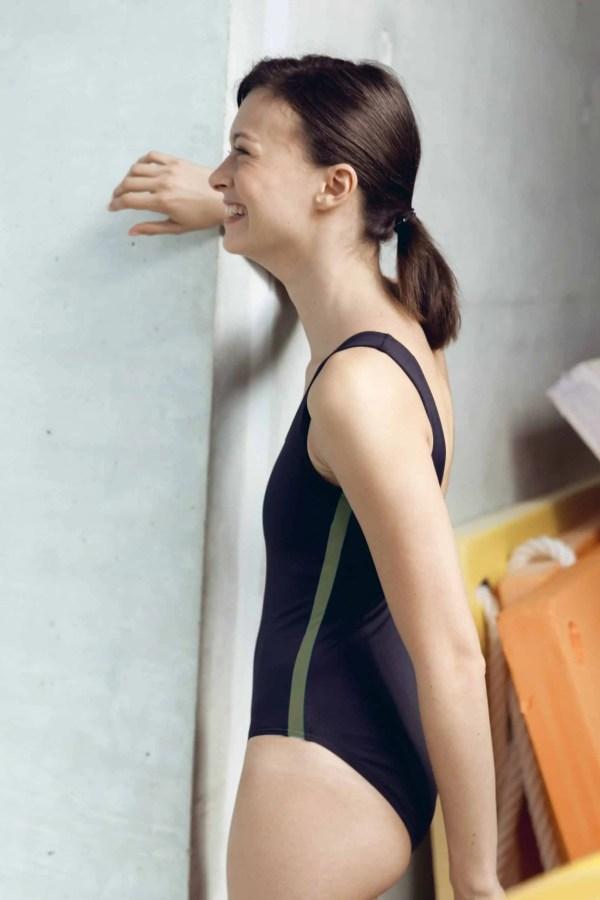CARDOLO swimsuit black with khaki braid CARDO Paris swimming pool swimwear pretty elegant comfy french