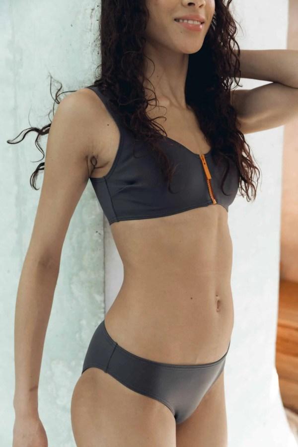 Maillot de bain CARDOMINI gris CARDO Paris piscine swimwear joli élégant confortable français