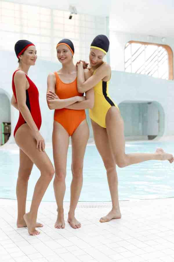 Maillot de bain CARDOLO orange jaune rouge ganse noire CARDO Paris piscine swimwear joli élégant confortable français