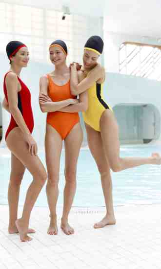 Swimsuits CARDOLO orange yellow red with black braid CARDO Paris swimming pool swimwear pretty elegant comfy french