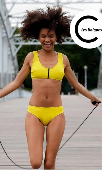 Swimsuit CARDOMINI yellow CARDO Paris swimming pool beach comfy pretty elegant french chlorine and sea water resistant recycled fabric unique