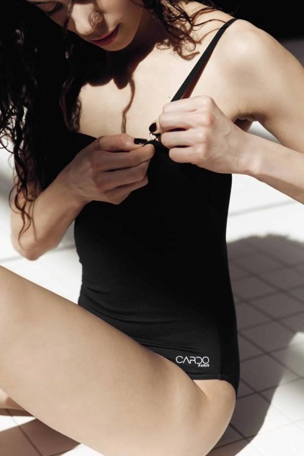 Swimwear OHLALA black CARDO Paris swimming pool swimwear pretty elegant french chlorine and sea water resistant