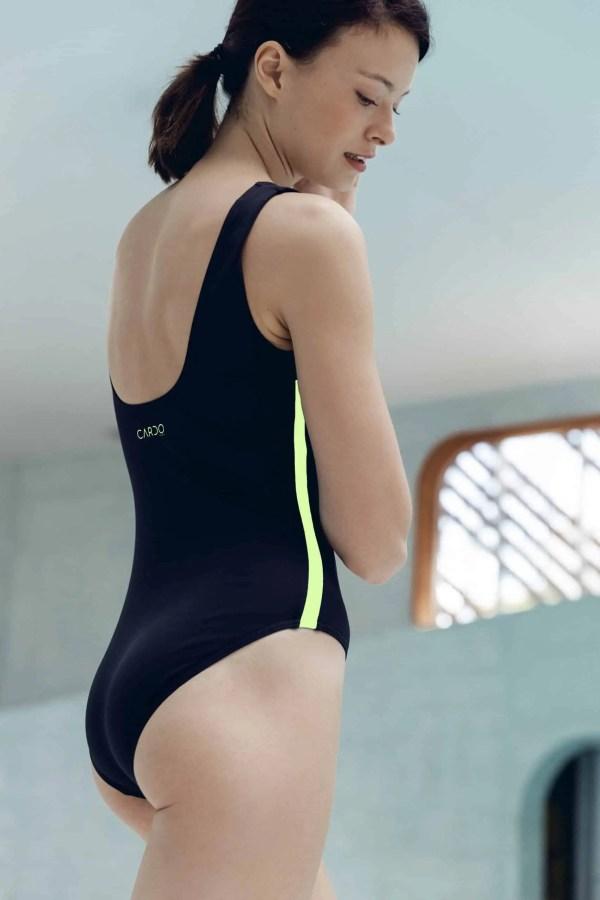 CARDOLO swimsuit black with yellow braid CARDO Paris swimming pool swimwear pretty elegant comfy french