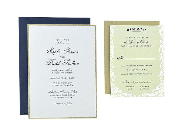 Golden Vines Free Wedding Invitation Template