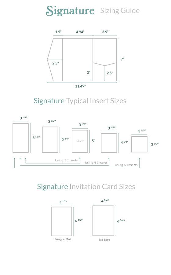Invitation Size Guide Signature Pocket Cards Pockets