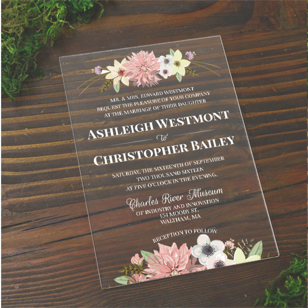 Acrylic Wedding Invitations Cards And Pockets