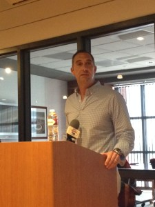 Cardinals General Manager John Mozeliak speaks to bloggers on June 22 at the annual United Cardinal Bloggers Event. (By Cole Claybourn)