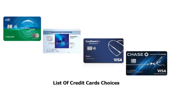 List Of Credit Cards Choices