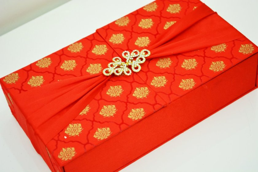 Red Satin Box With Brooch