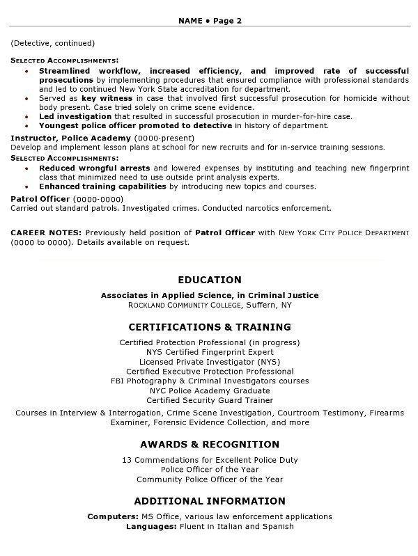 Resume Sample 11 Security Law Enforcement Professional Resume
