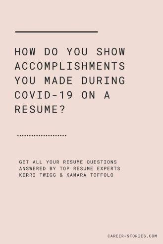 resume accomplishment covid 19 resume 2020