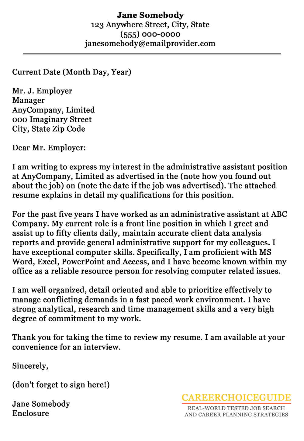 arts administration cover letter
