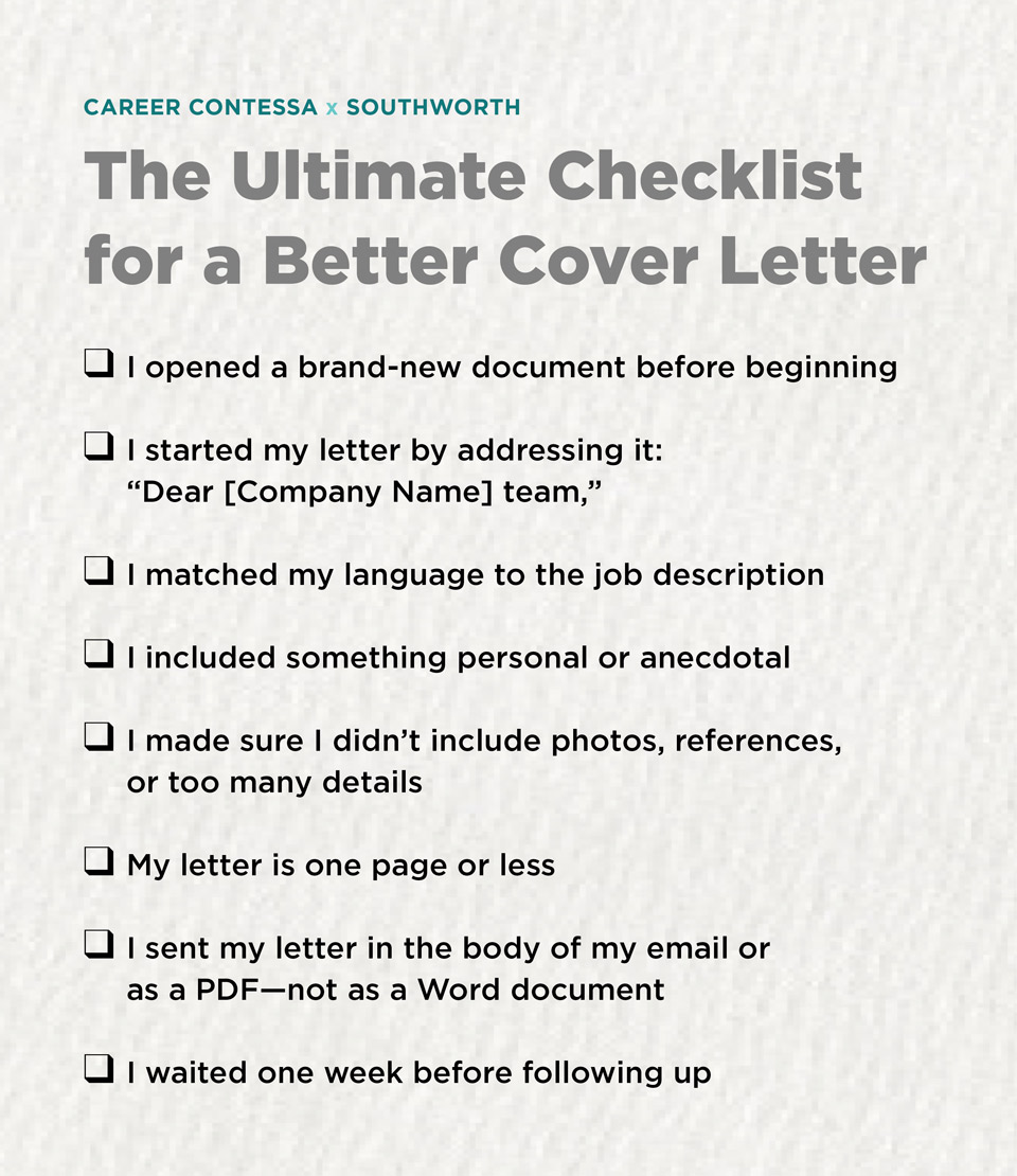 The Ultimate Checklist For A Better Cover Letter Career