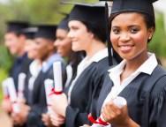 pretty african female college graduate at graduation