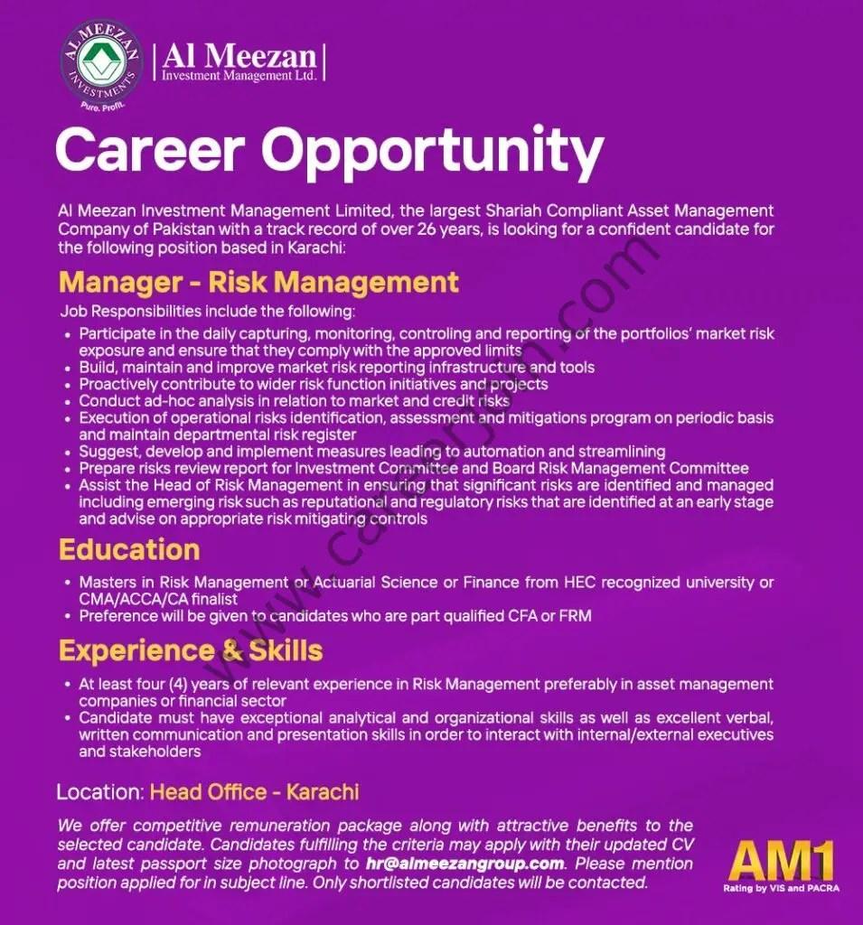 Al Meezan Investment Management Ltd Jobs Manager Risk Management