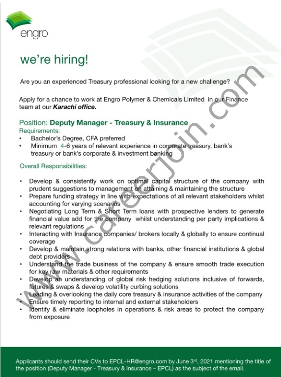 Engro Polymer & Chemicals Limited Jobs Deputy Manager Treasury & Insurance