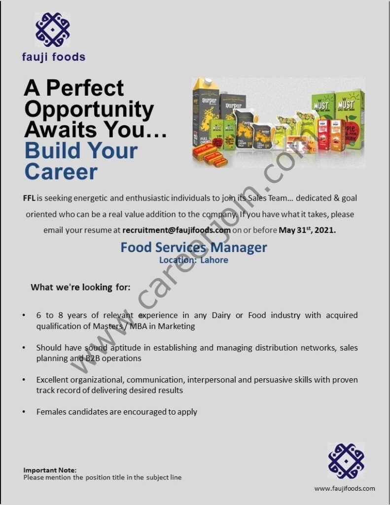 Fauji Foods Ltd Jobs Food Services Manager
