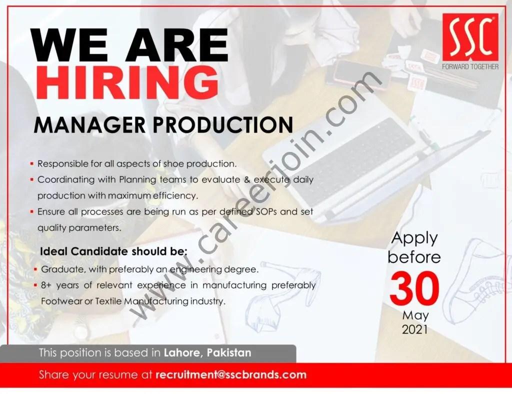 Service Sales Corporation Pvt Ltd SSC Jobs Manager Production 2021