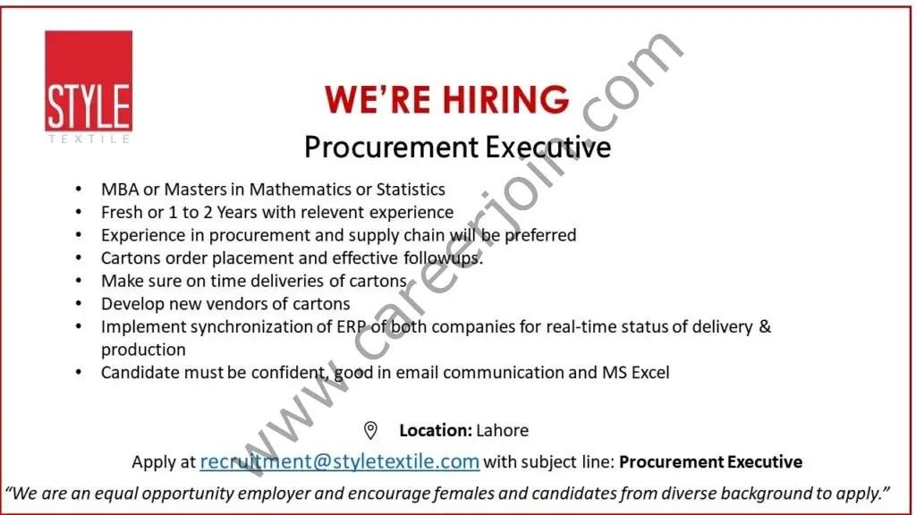 Style Textile Pvt Ltd Jobs Procurement Executive 2021