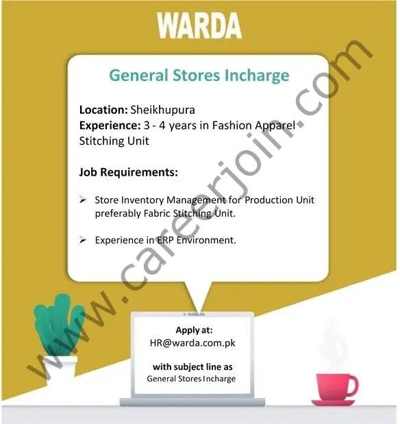 WARDA Designer Collection Pvt Ltd Jobs May 2021
