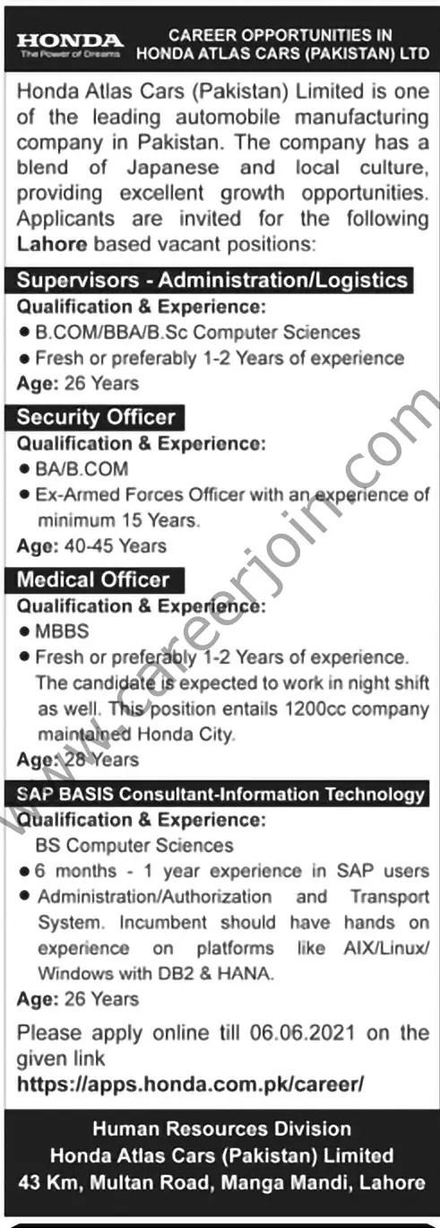Honda Atlas Cars Pakistan Ltd Jobs June 2021