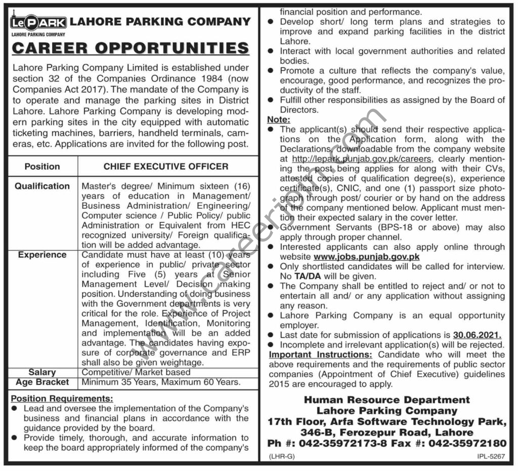 Lahore Parking Company Ltd Jobs Chief Executive Order