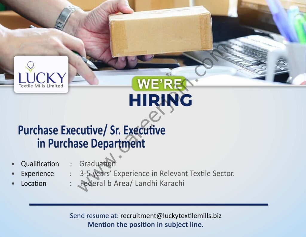 Lucky Textile Mills Ltd Jobs June 2021