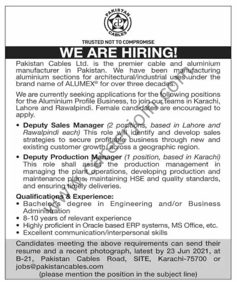 Pakistan Cables Ltd Jobs June 2021