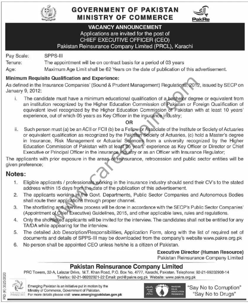Pakistan Reinsurance Company Ltd PRCL Jobs Chief Executive Officer CEO