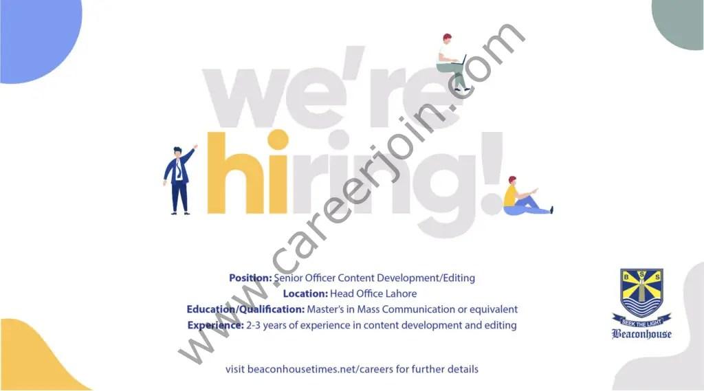 Beaconhouse Group Jobs Senior Officer Content 01