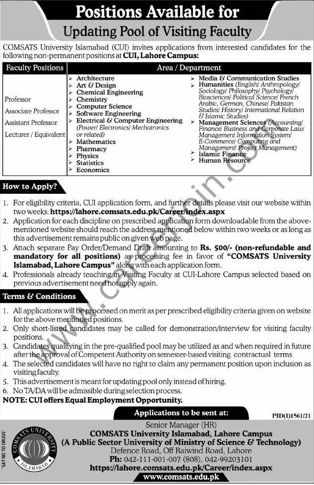 COMSATS University Islamabad CUI Jobs 12 September 2021 Express Tribune