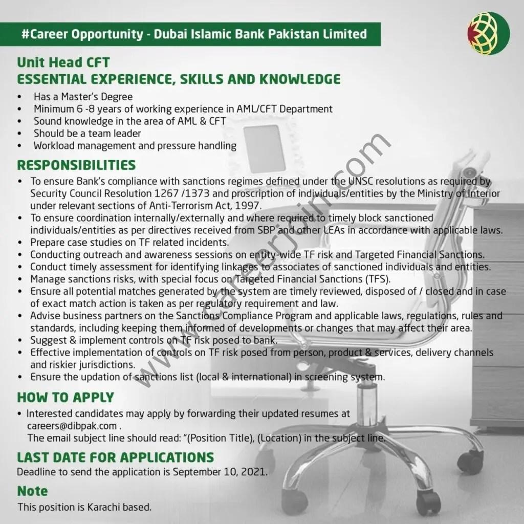 Dubai Islamic Bank Pakistan Limited Jobs Unit Heat CFT 01