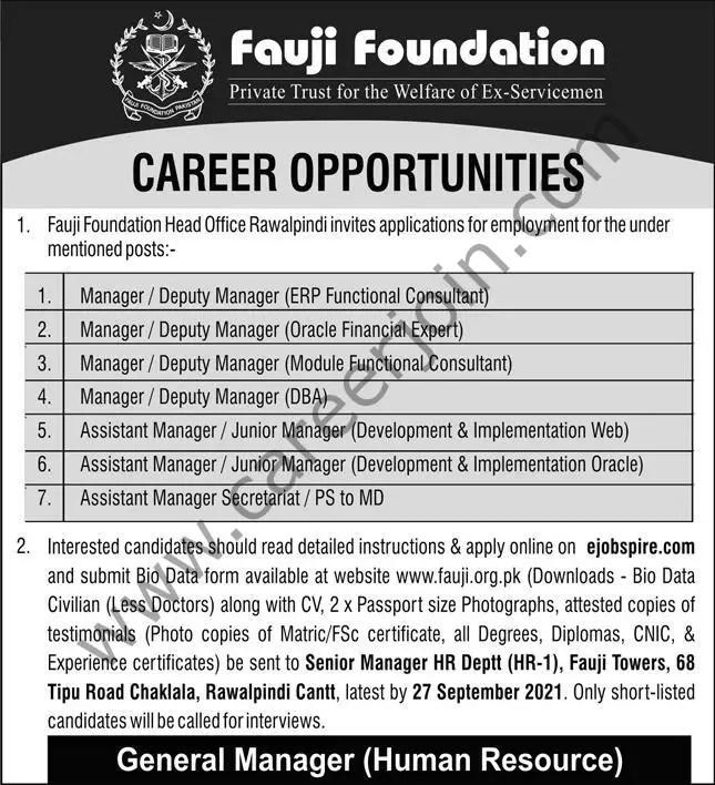 Fauji Foundation Jobs 12 September 2021 Express 01