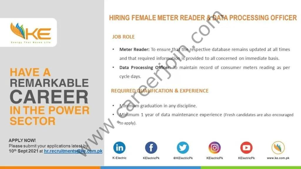K-Electric Jobs Female Meter Reader & Data Processing Officer 01
