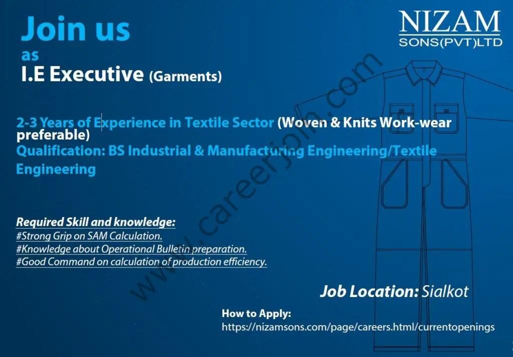 Nizam Sons Pvt Ltd Jobs I.E Executive (Garments) 01