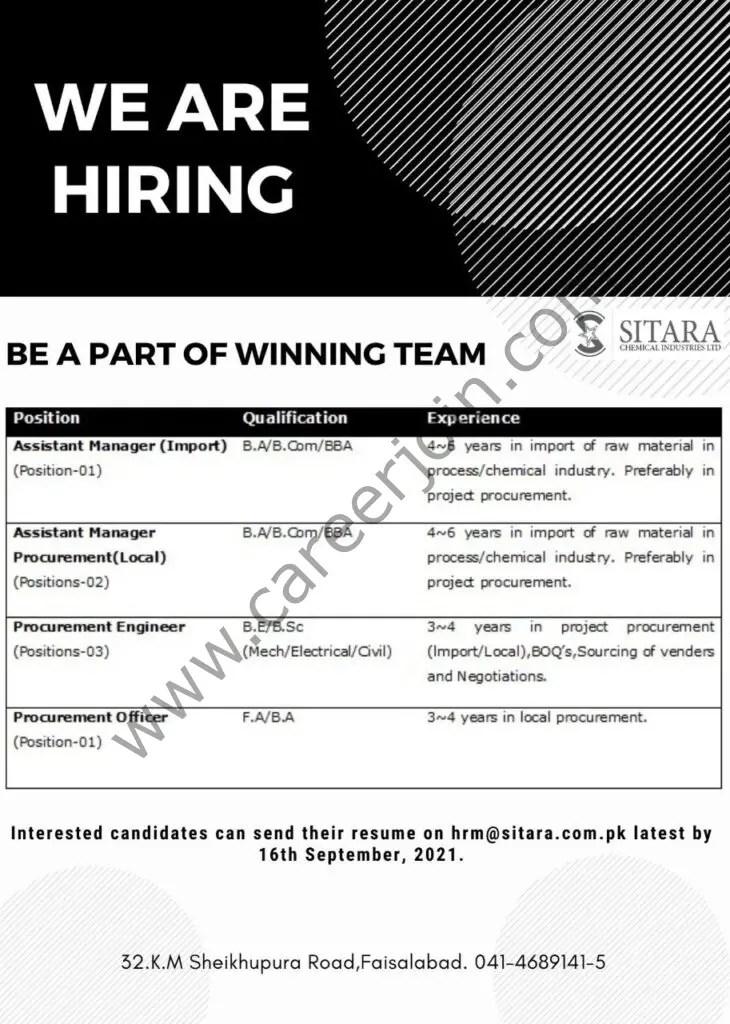 Sitara Chemical Industries Ltd Jobs September 2021 01