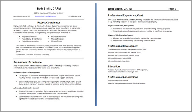 Two Page Resume Template - Resume template pages