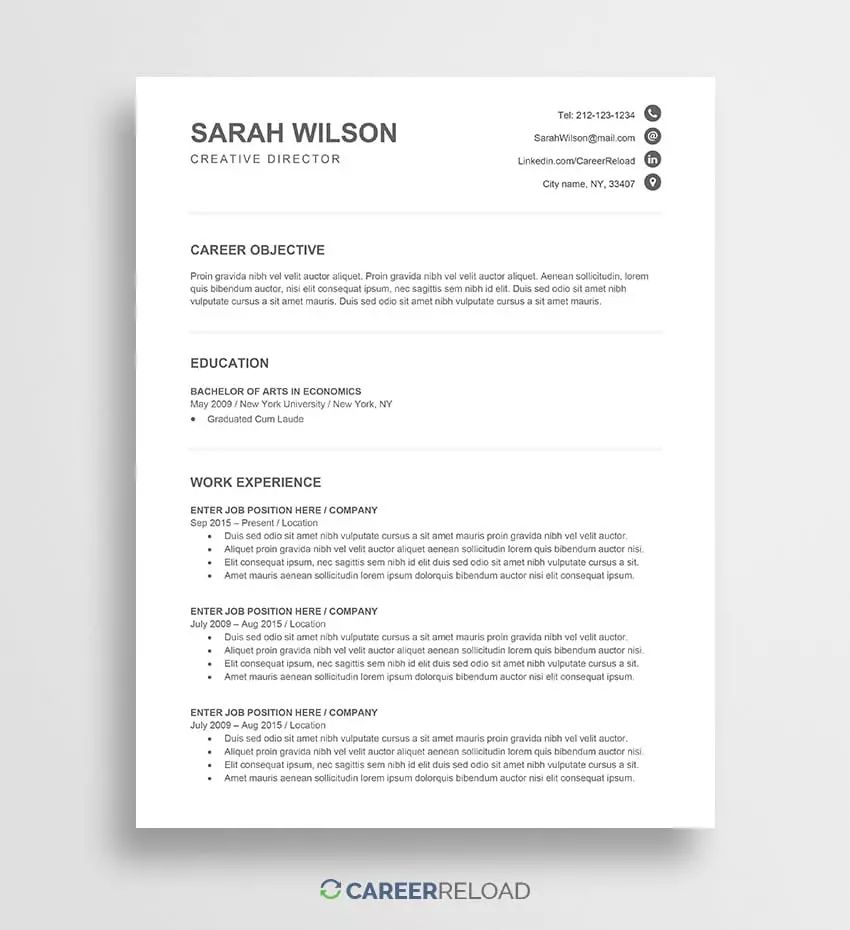modern resume template free download picture