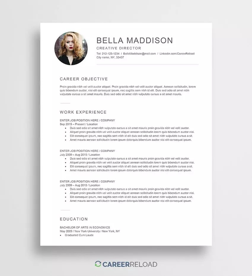 Free Resume With Photo. Free Word Resume Template Download